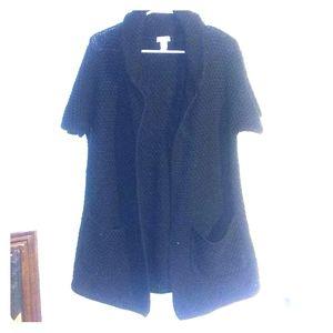 🌞   🌞Black large knit short sleeve  sweater